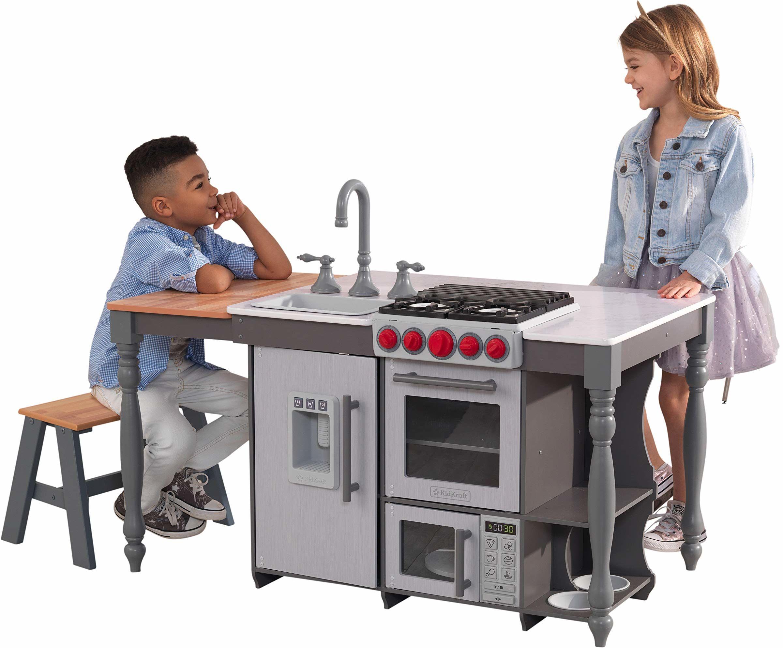 KidKraft 53420 kucharz N Create Island drewniana udawana zabawka do zabawy kuchnia dla dzieci ze światłami i dźwiękami oraz maszyna do lodu - zespół Kraft EZ