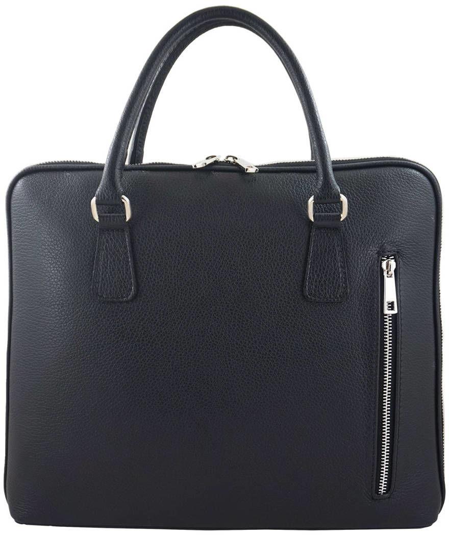 Skórzana torba na laptopa Casual - Czarna