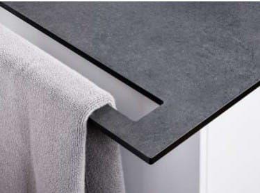 Blat do szafki umywalkowej z relingiem na ręcznik, H1cm czarny i szary księżyc NATURA-L