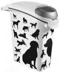 Curver Pet Life Pojemnik na psią karmę - białoczarny z psami 10kg