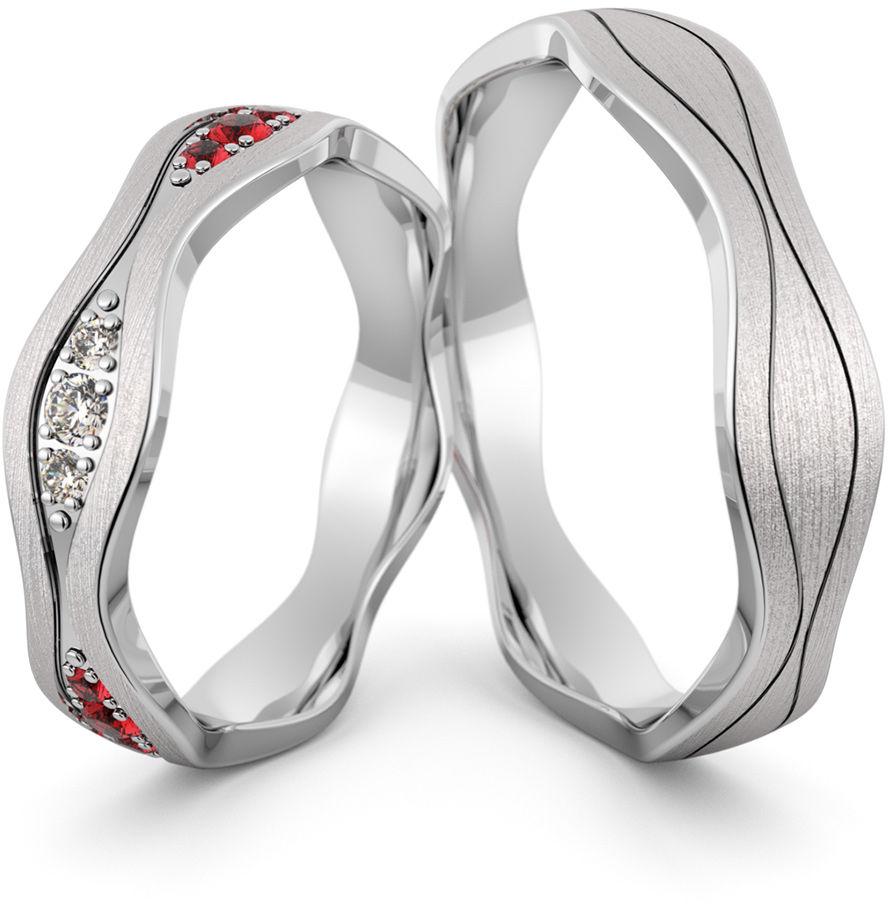 Obrączki srebrne falowane z cyrkoniami i rubinami - wzór Ag-467