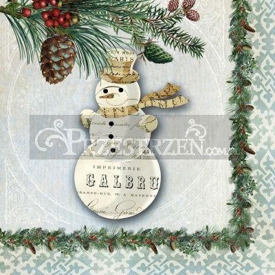SERWETKI PAPIEROWE - Winter Lodge Snowman - Choinkowy Bałwanek