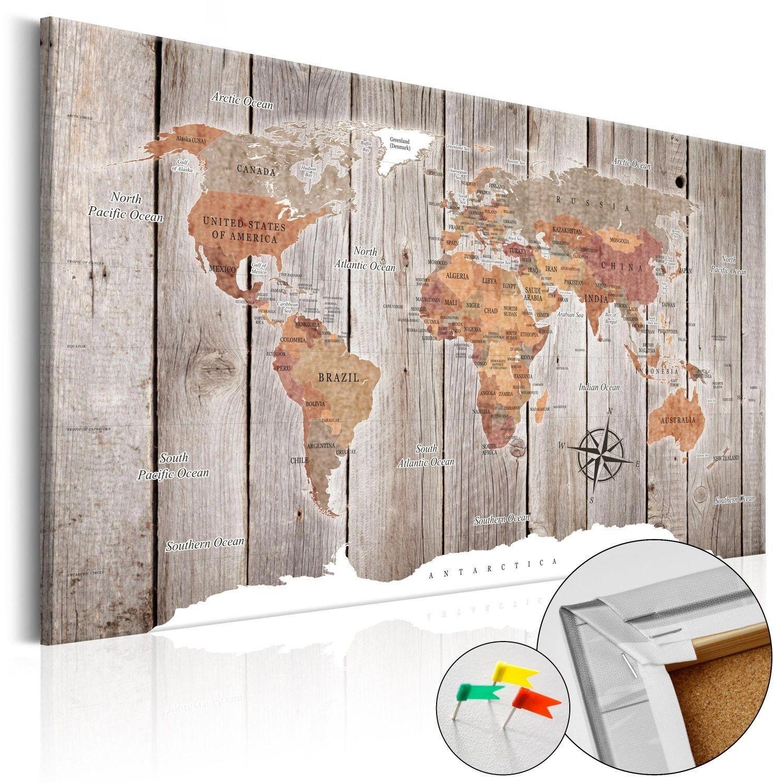 Obraz na korku - drewniane historie [mapa korkowa]