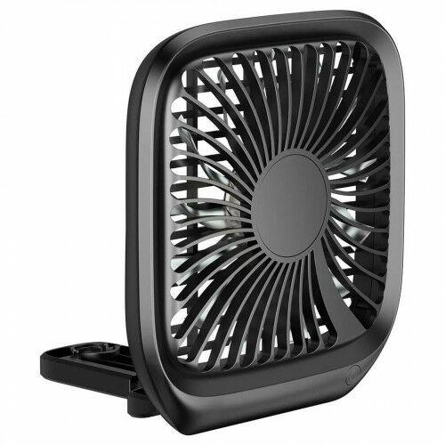 Wiatrak samochodowy na zagłówek, Baseus Foldable Backseat Fan, czarny