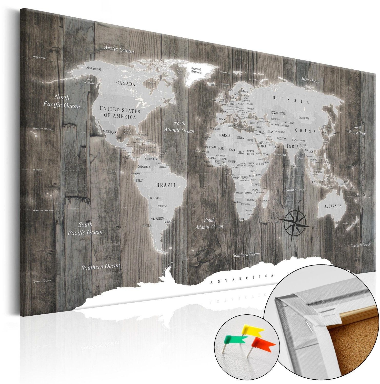Obraz na korku - świat z drewna [mapa korkowa]