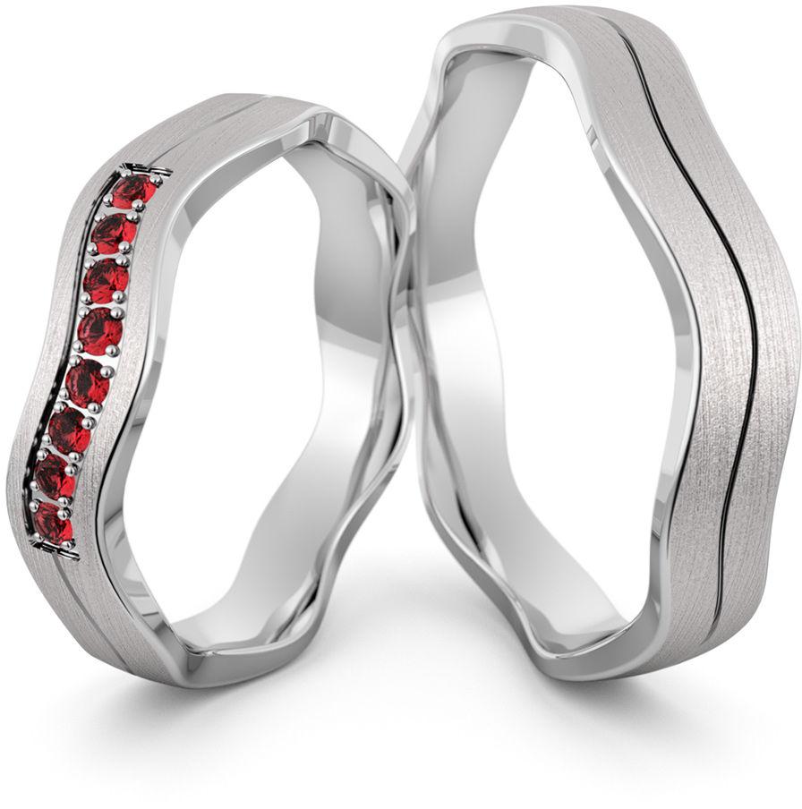 Obrączki srebrne falowane z rubinami - wzór Ag-468