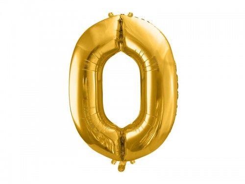 Balon foliowy cyfra 0, złoty