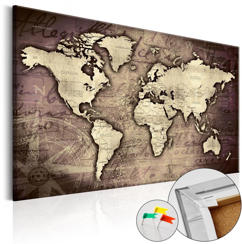 Obraz na korku - drogocenny świat [mapa korkowa]