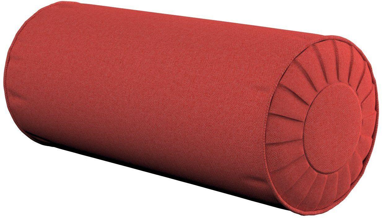 Poduszka wałek z zakładkami, jodełka zgaszona czerwień, Ø20  50 cm, do -50%