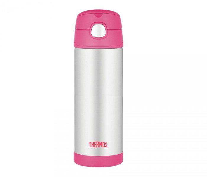 Kubek dla dzieci ze słomką Thermos FUNtainer 470 ml (stalowy/różowy)