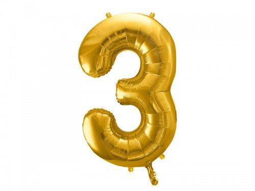 Balon foliowy cyfra 3, złoty