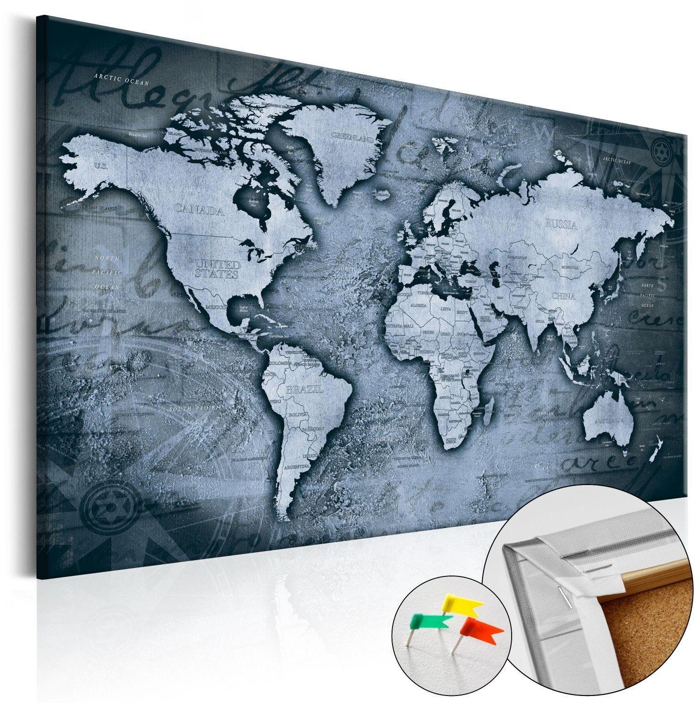 Obraz na korku - szafirowy świat [mapa korkowa]