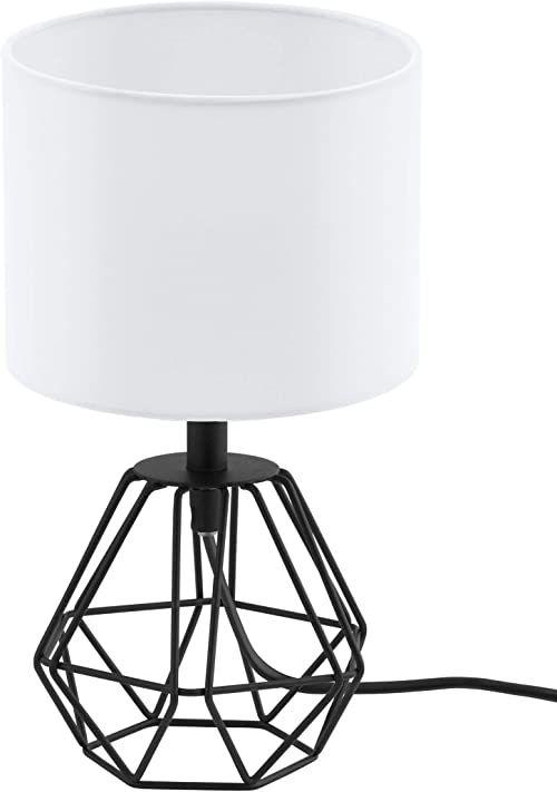 Lampa stołowa EGLO CARLTON 2, 1-ogniskowa oprawa stołowa w stylu vintage, lampka nocna wykonana ze stali i tkaniny, kolor: czarny, biały, oprawka: E14, wraz z przełącznikiem