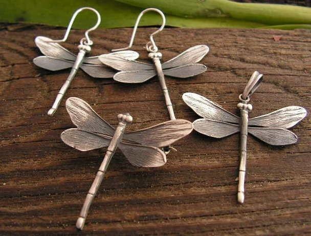 Ważki - srebrny komplet biżuterii