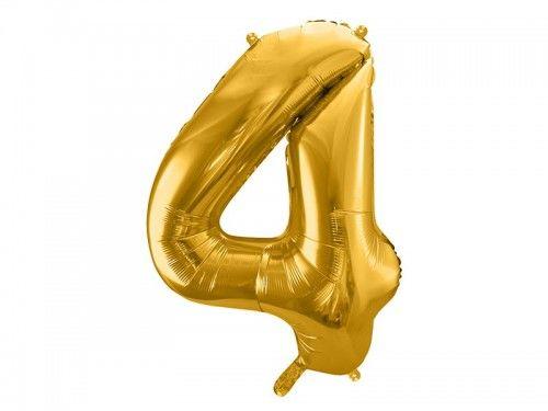Balon foliowy cyfra 4, złoty