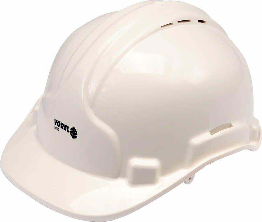 Kask ochronny biały Vorel 74190 - ZYSKAJ RABAT 30 ZŁ