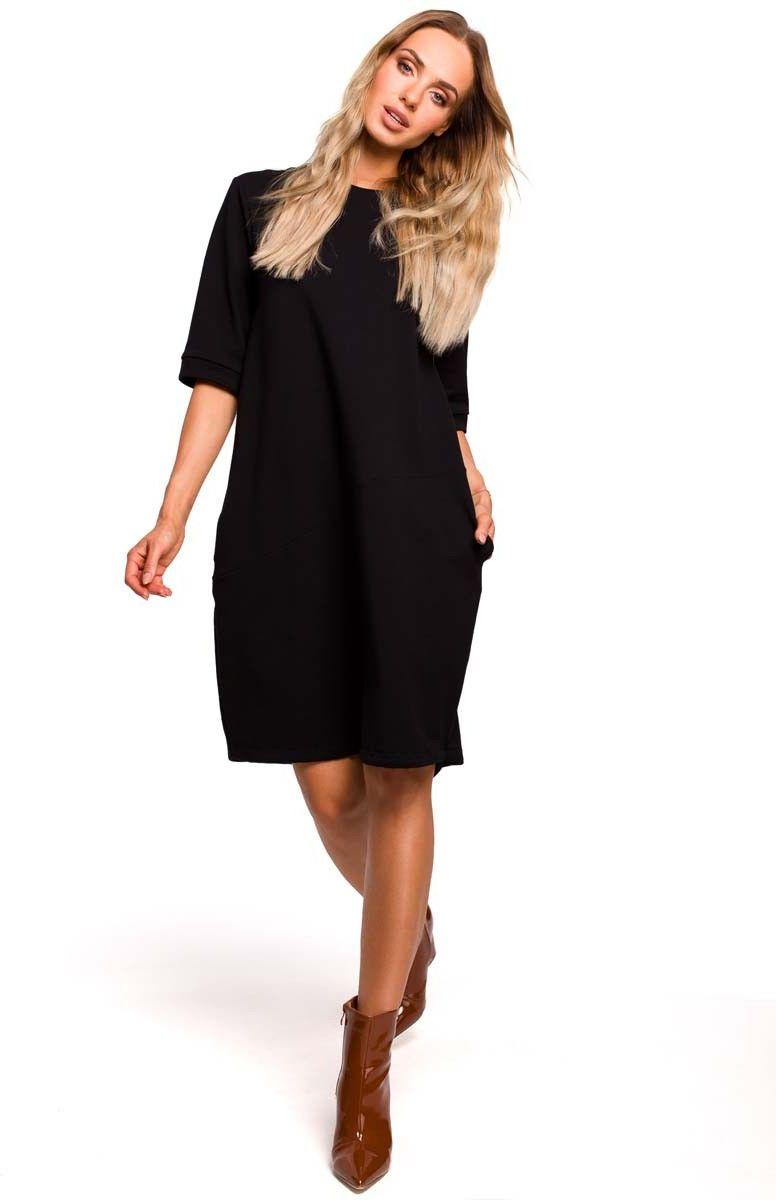Czarna Dzianinowa Sukienka Bombka z Krótkim Rękawem