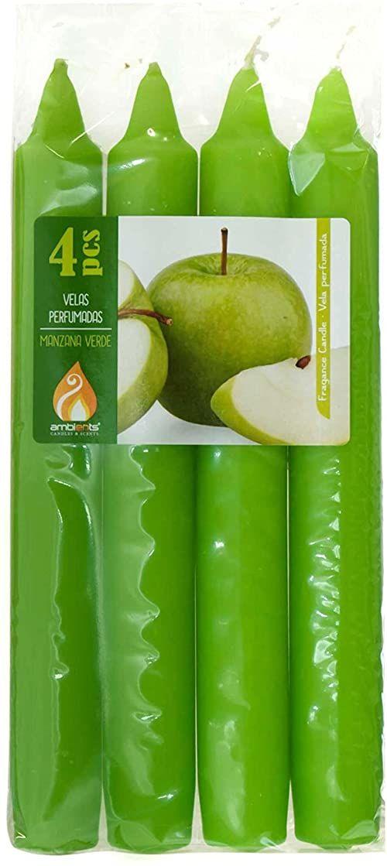 Opakowanie z 4 świecami zapachowymi, 18 cm, zielone jabłko