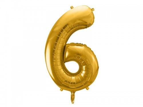Balon foliowy cyfra 6, złoty