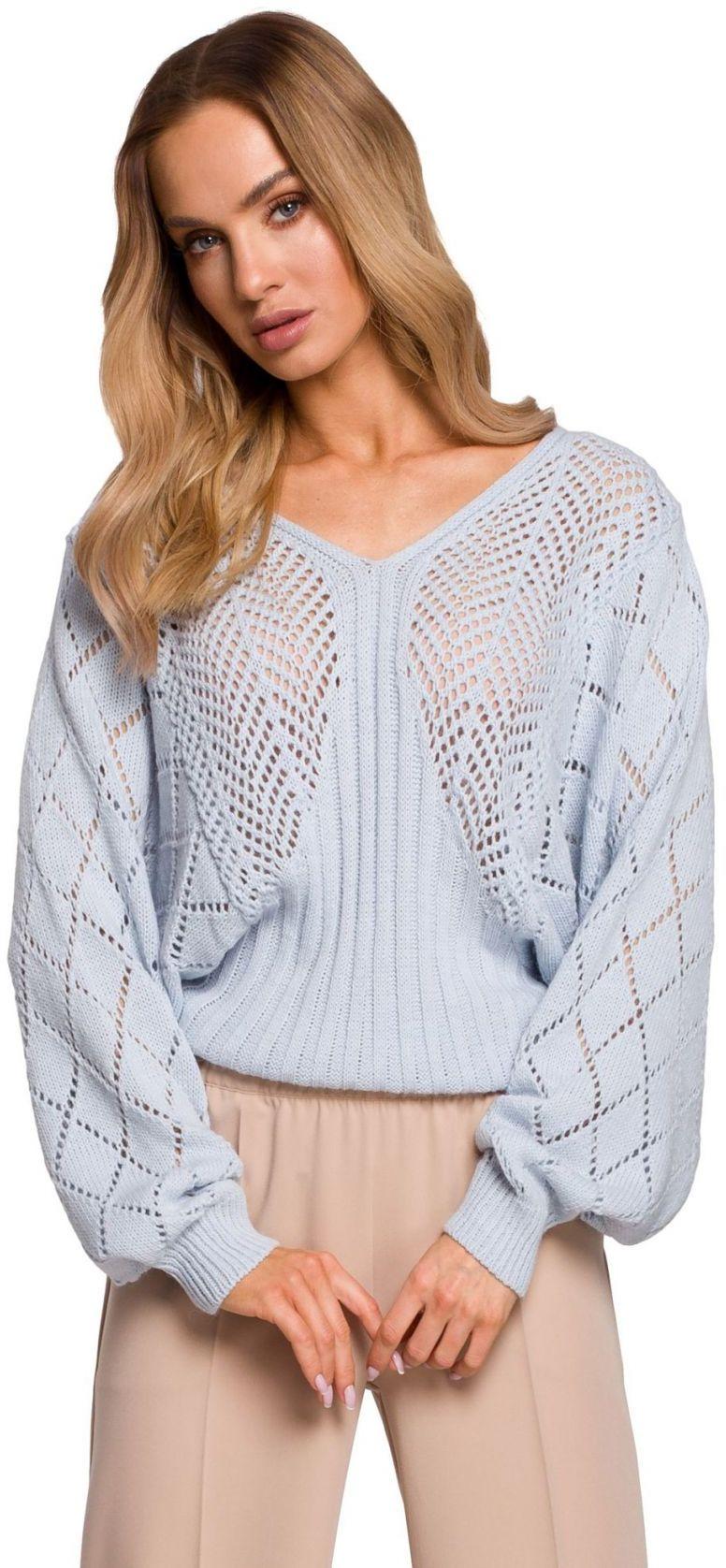 M595 Sweter z rękawami nietoperzowymi - błękitny