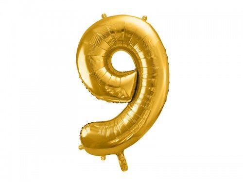 Balon foliowy cyfra 9, złoty