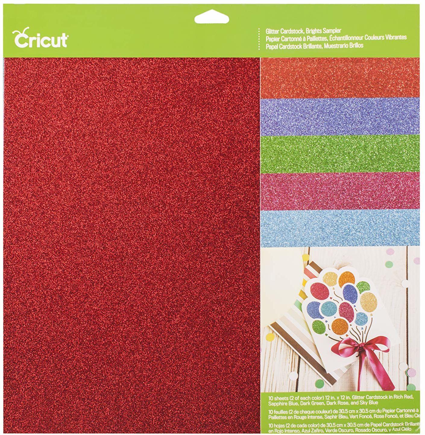 """Cricut 2007757 brokatowy karton próbnik, jasne - 30,5 cm x 30,5 cm (12 x 12 """"), jeden rozmiar"""