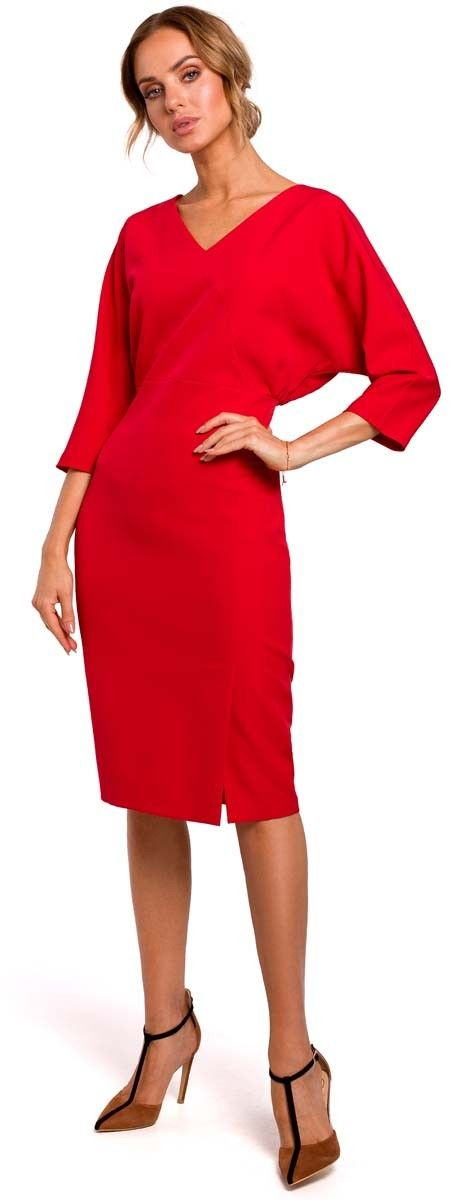 Czerwona sukienka oversize z ołówkowym dołem