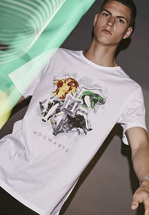 MERCHCODE Hogwart t-shirt męski z emblematem biały biały XX-L