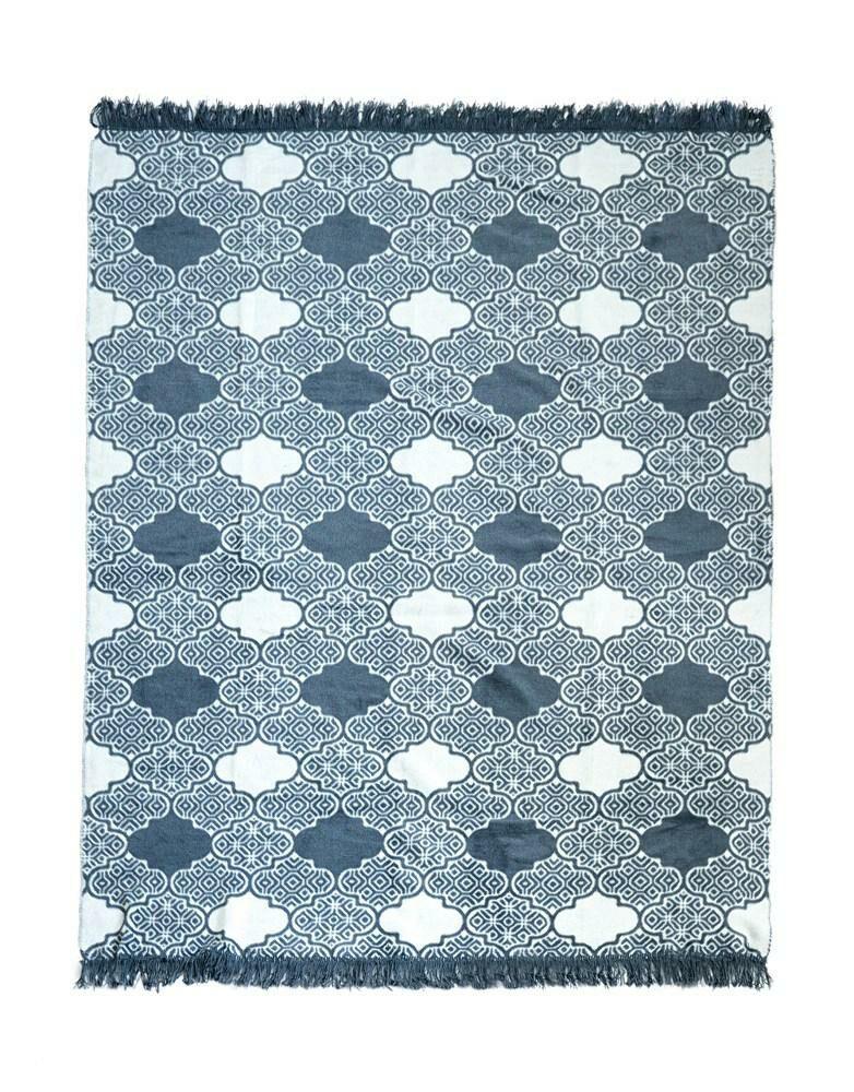 Koc bawełniany akrylowy 150x200 045 JB granatowy ornamenty marokańska koniczyna orientalny z frędzlami narzuta na łóżko