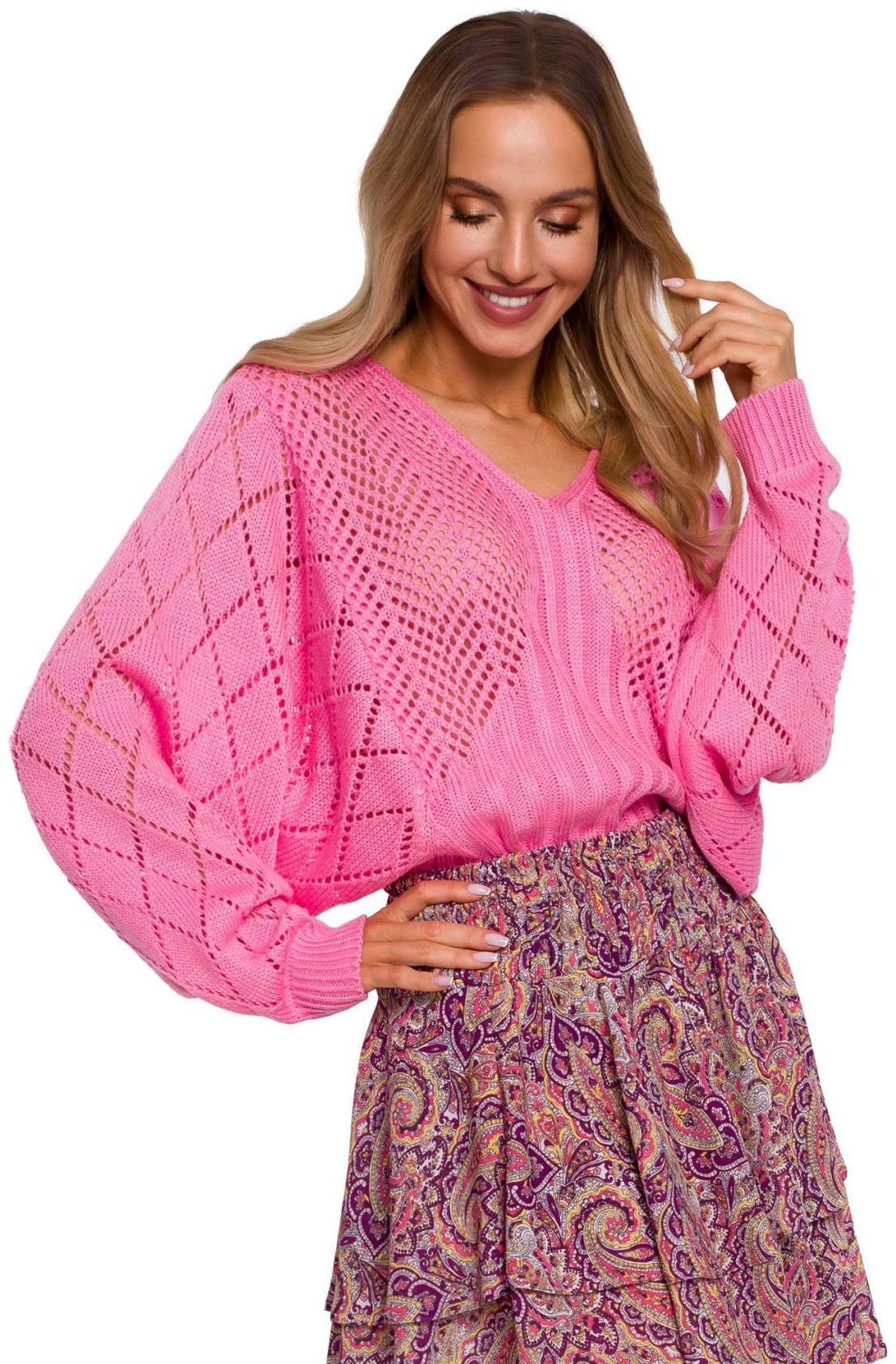 M595 Sweter z rękawami nietoperzowymi - różowy