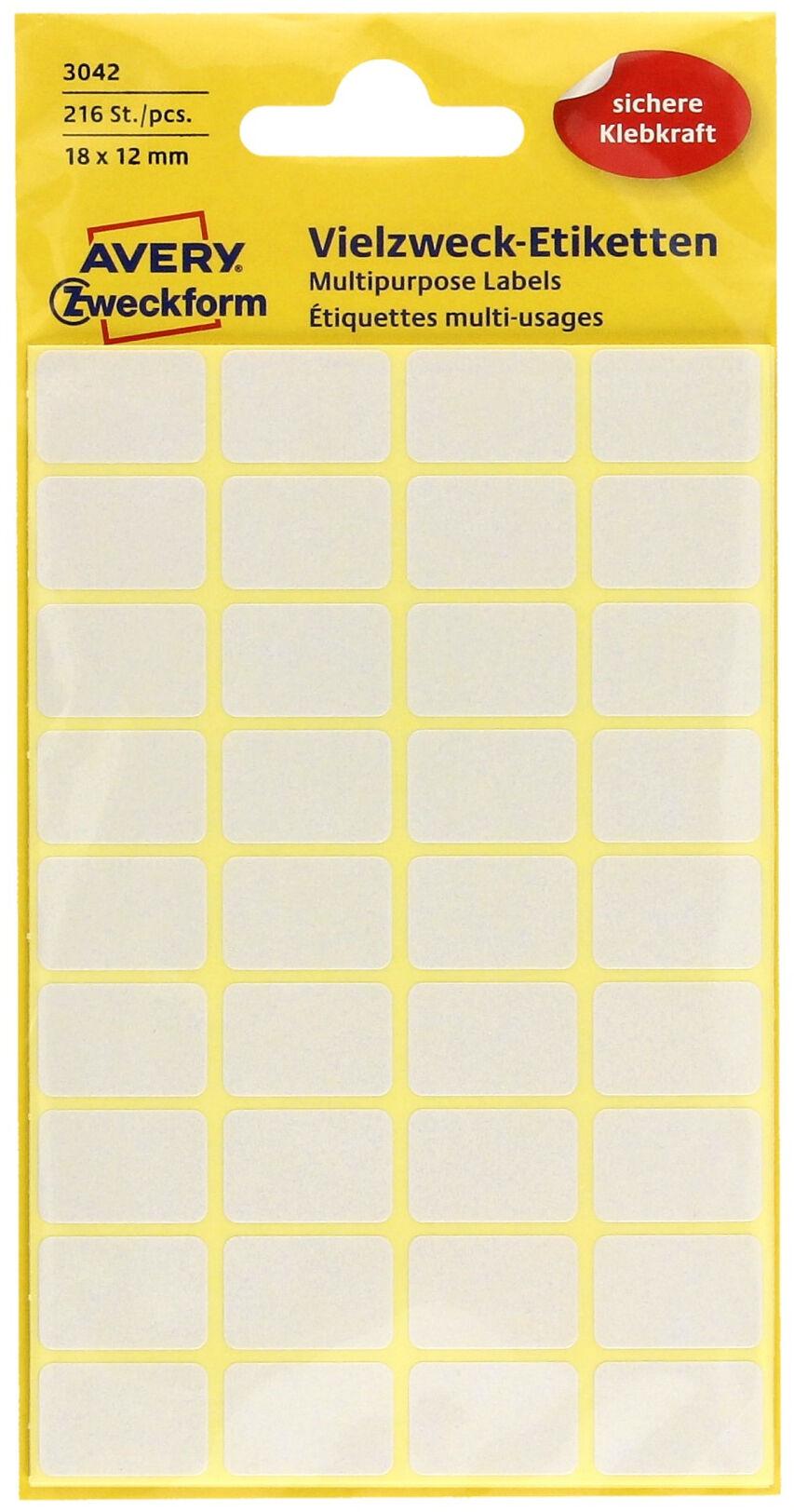 Etykiety uniwersalne 18x12/216 białe Zweckform 3042