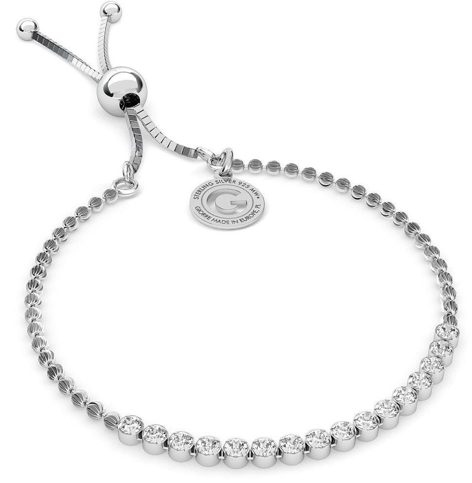 Srebrna bransoletka z cyrkoniami 2m, srebro 925 : Srebro - kolor pokrycia - Pokrycie platyną
