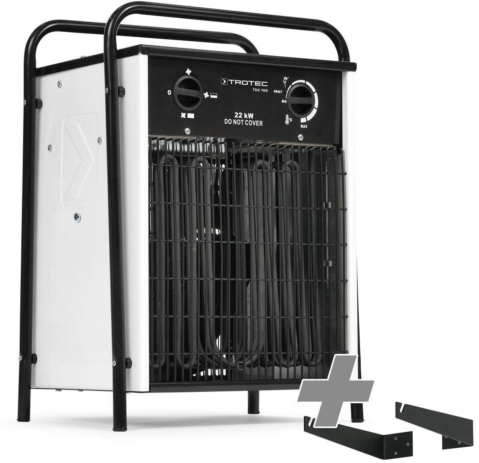 Nagrzewnica elektryczna TDS 100 biała + Mocowanie na ścianę i pod sufit