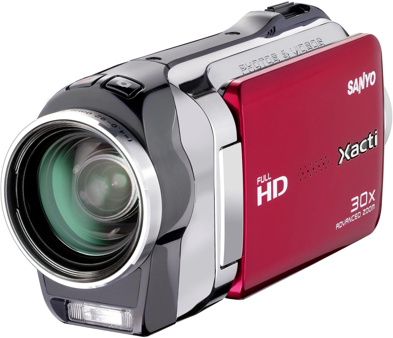 Sanyo Xacti VPC-SH1EXR kamera Full HD (karta SD/SDHC, 23-krotny zoom, wyświetlacz 6,9 cm (2,7 cala) czerwona