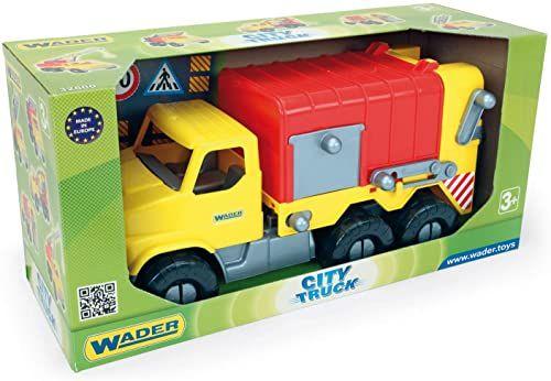 Wader 32607 City Truck wózek na śmieci z pojemnikiem na śmieci i otwieraną tylną klapą, od 3 lat, ok. 50 cm, kolorowy