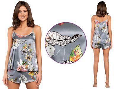 Piżama damska FLOWERS: szary