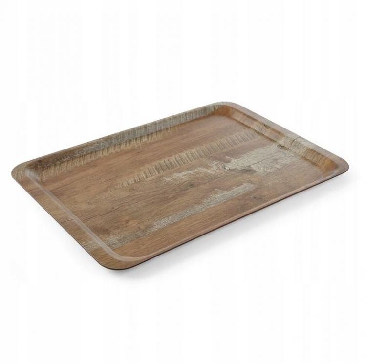 Taca melaminowa z nadrukiem drewna - dąb, wym. 37x53 cm