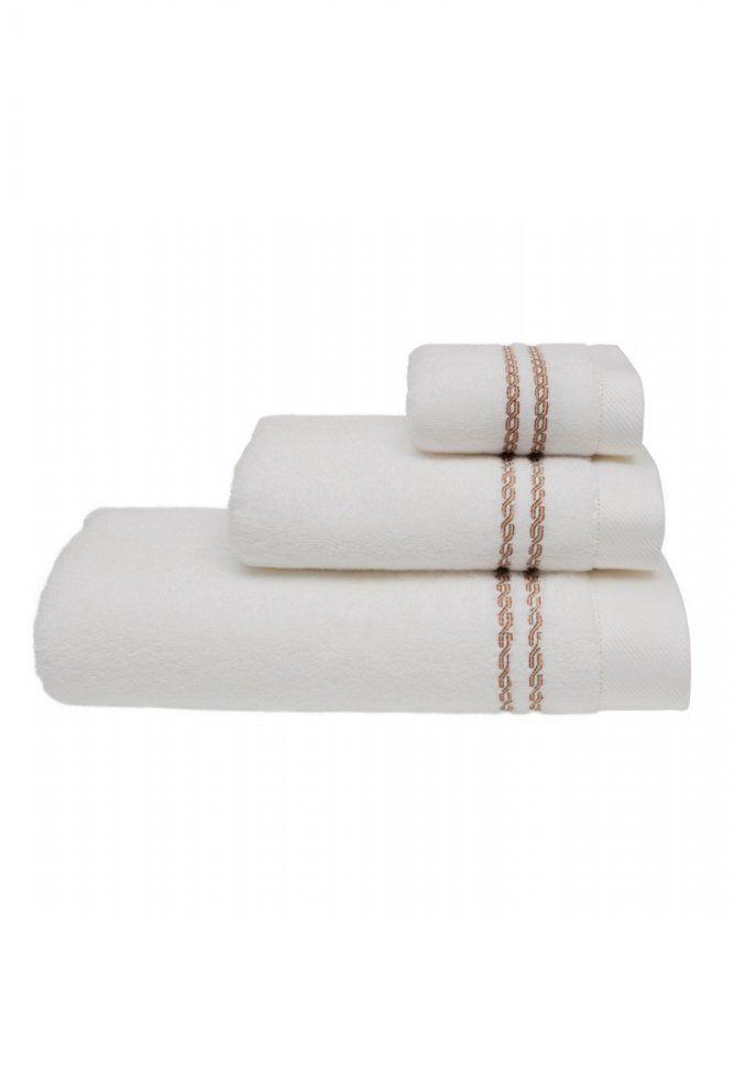 Mały ręcznik CHAINE 30 x 50 cm Biały / beżowy haft