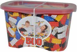 Simba 104114201  Blox 500 klocki dla dzieci od 4 lat, 8 sztuk, bez płyty podstawowej, w pełni kompatybilne, różne kolory, czarny, czerwony, biały, żółty, niebieski