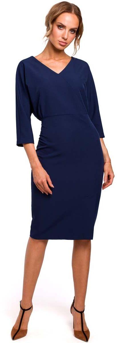 Granatowa sukienka oversize z ołówkowym dołem