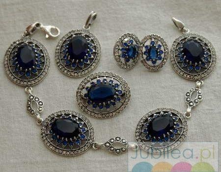 Srebrny komplet szafiry i kryształki liria