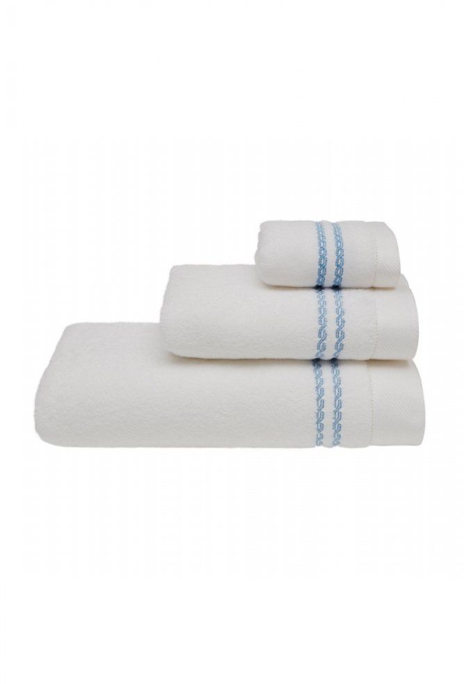 Mały ręcznik CHAINE 30 x 50 cm Biały / niebieski haft