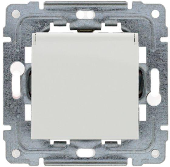 DANTE Gniazdo bryzgoszczelne z/u z przesłonami klapka transparentna białe 450439