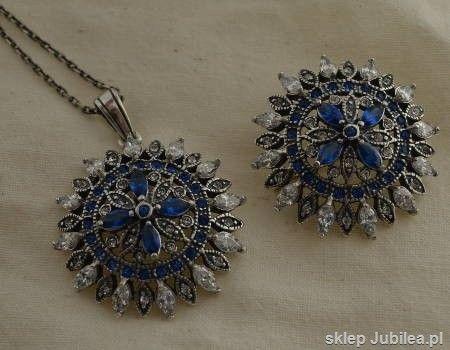 Srebrny komplet szafiry i kryształy ambrosia