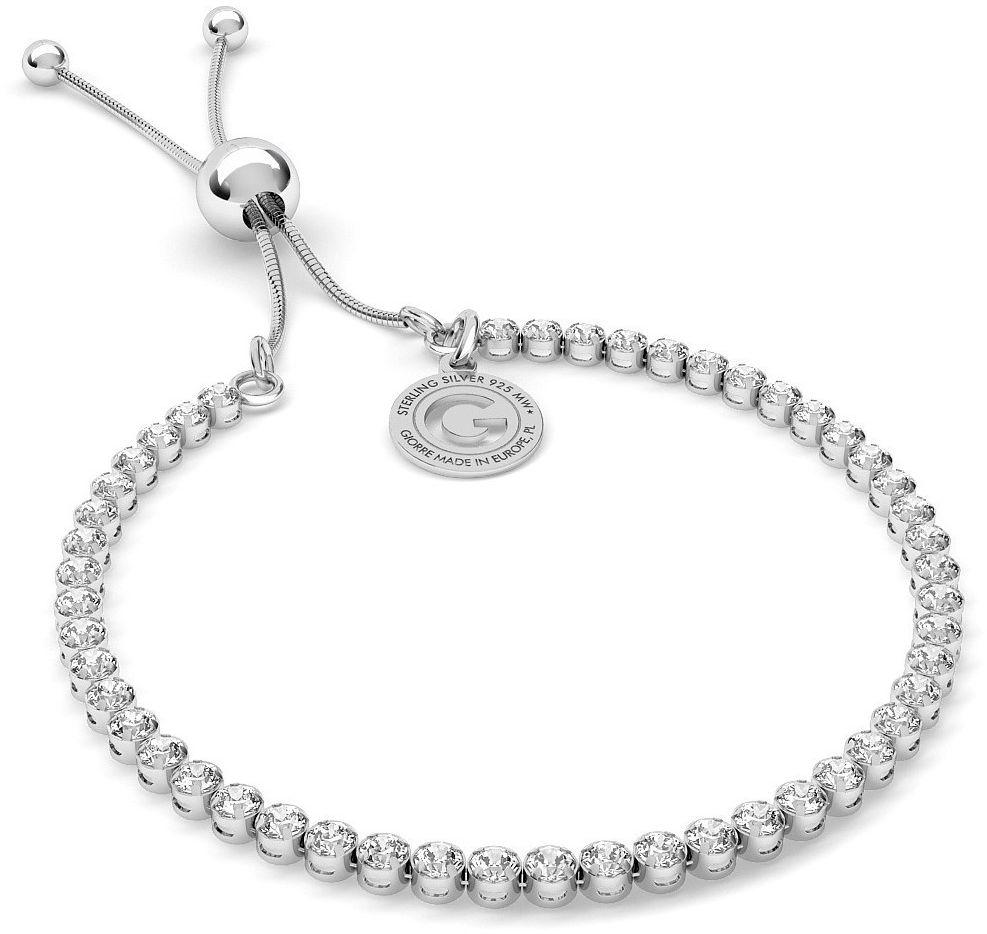 Srebrna bransoletka z cyrkoniami 3mm, srebro 925 : Srebro - kolor pokrycia - Pokrycie platyną