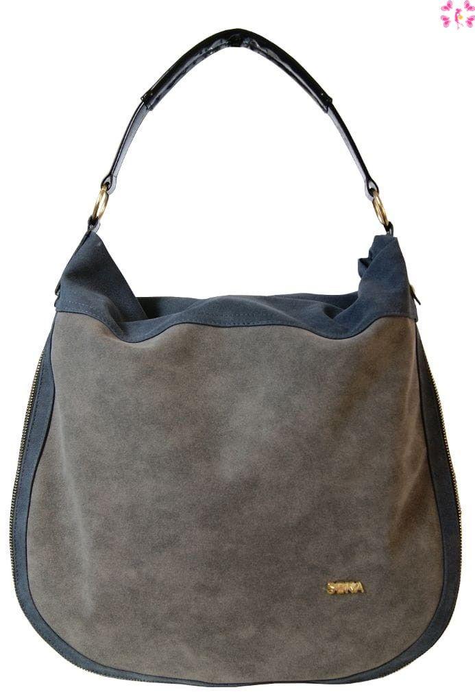 Duża torebka listonoszka - worek Seka szaroniebieska