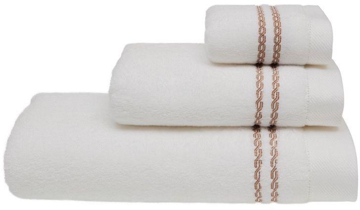 Ręcznik CHAINE 50 x 100 cm Biały / beżowy haft