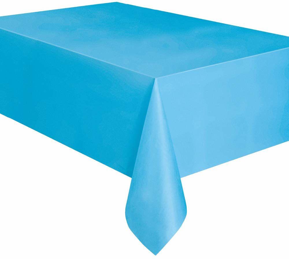 Unique Party 50393 - Dziecięcy niebieski plastikowy obrus, 2,5 cm x 1,5 m
