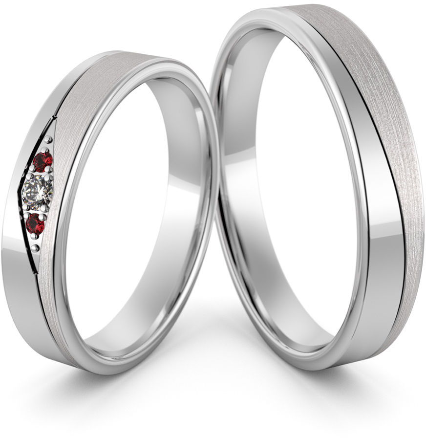 Obrączki srebrne z rubinami - wzór Ag-471