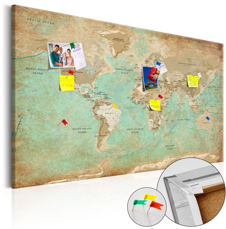 Obraz na korku - seledynowa podróż [mapa korkowa]